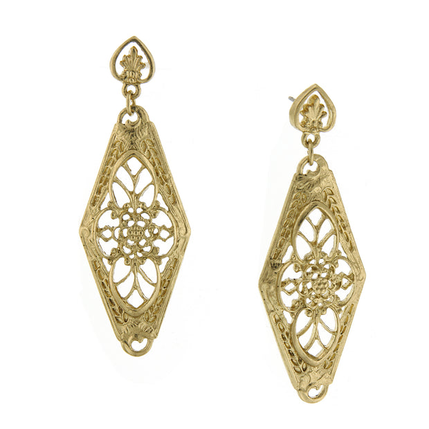 Gold-Tone Filigree Lantern Drop Earrings