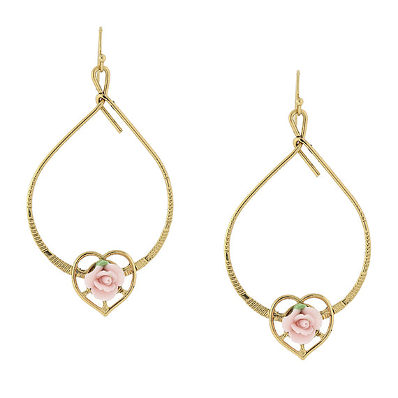 Fashion Jewelry - Gold Tone Pink Porcelain Rose Heart Wire Drop Earrings