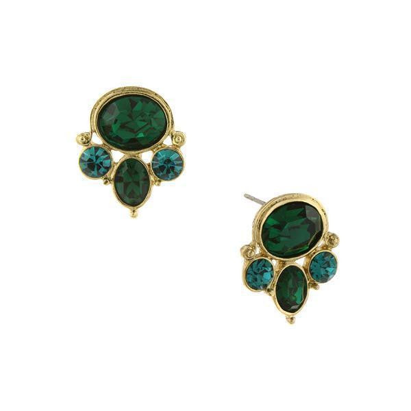 Gold Tone Green And Blue Zircon Color Cluster Earrings