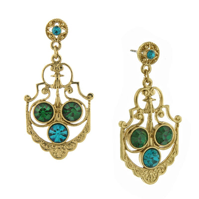 Gold-Tone Blue Zircon Color And Green Crystal Drop Earrings