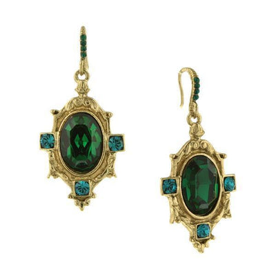 Gold-Tone Green Faceted Oval Stone and Blue-Zircon-Color Crystal Drop Earrings