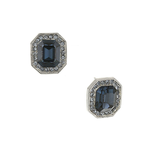 Silver-Tone Dark and Light Blue Crystal Octagon Button Earrings