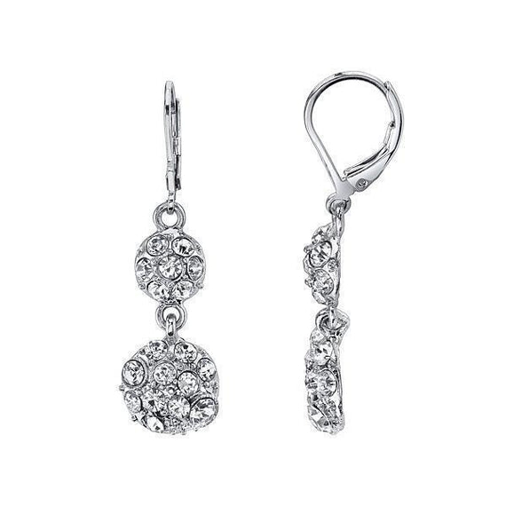 Silver-Tone Pave Crystal Double Drop Earrings