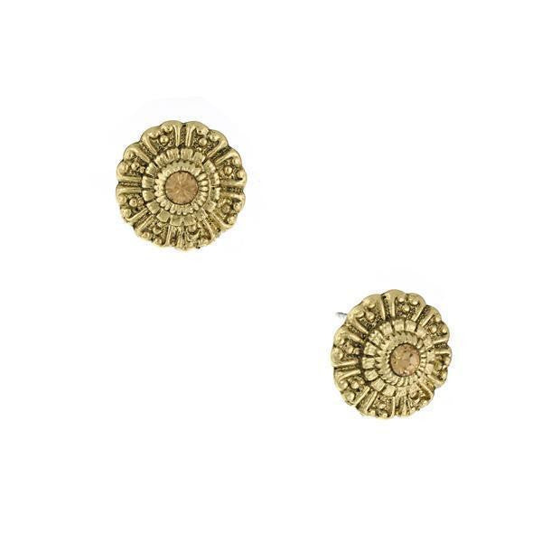 Gold Tone Light Topaz Color Round Button Earrings