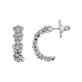 Fashion Jewelry - 2028 Amore Floral Arc Half-Hoop Earrings