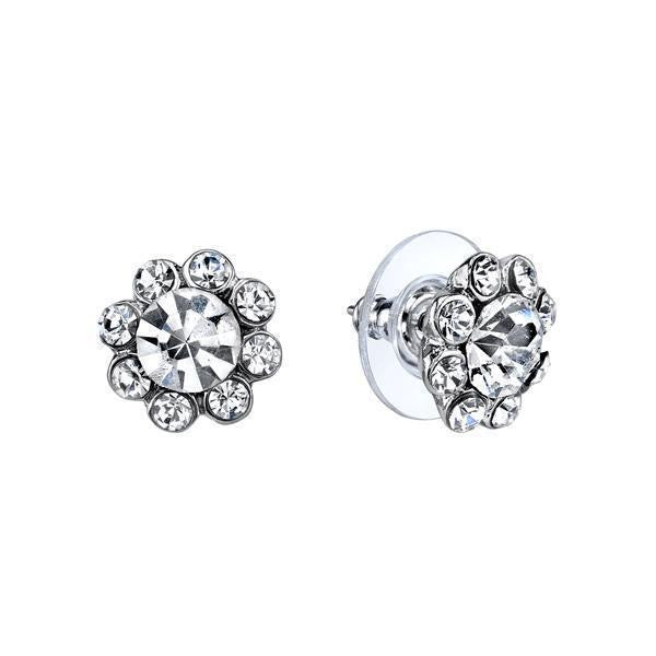 Silver Tone Crystal Flower Stud Earrings
