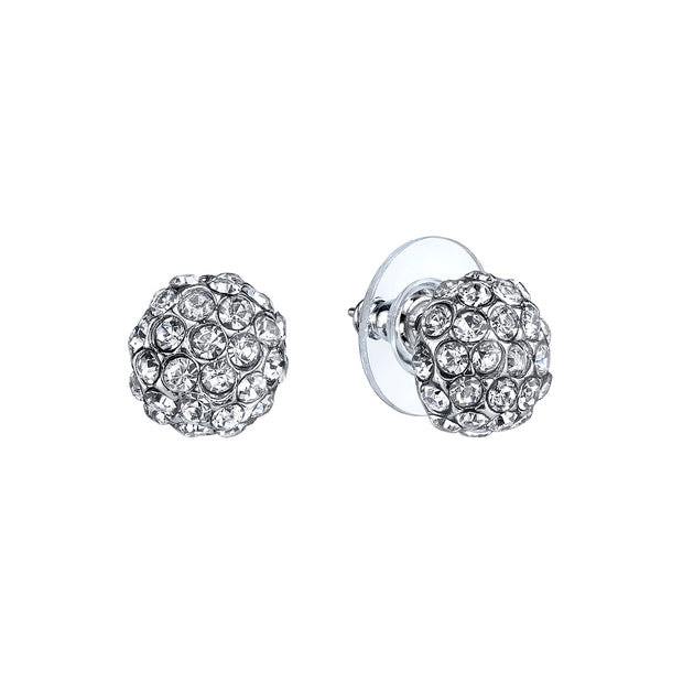 Silver-Tone Pave Crystal Stud Earrings
