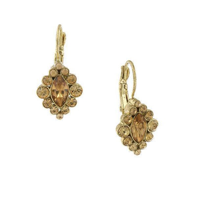 Gold-Tone Light Topaz Color Navette Drop Earrings