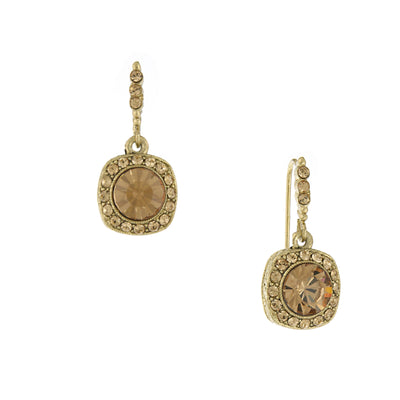 Gold-Tone Light Topaz Color Stone Drop Earrings