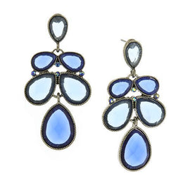 Silver-Tone Blue Faceted Stone AB Blue Crystal Cluster Drop Earrings