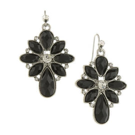 Silver-Tone Black Stone and Crystal Cluster Drop Earrings
