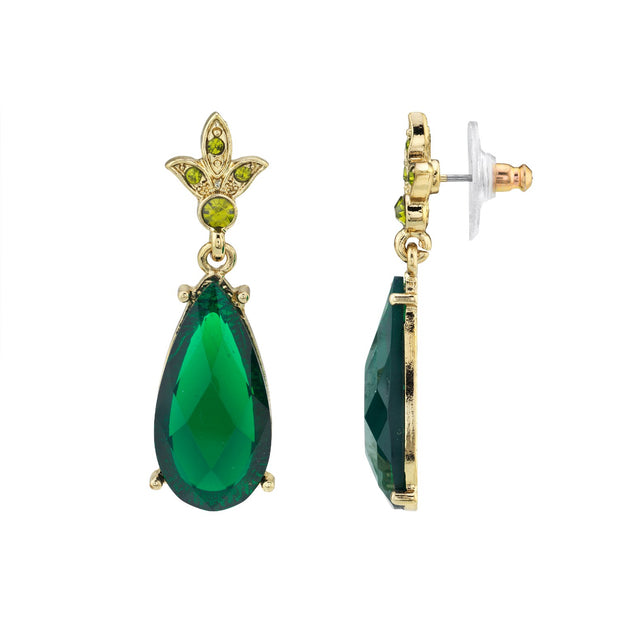 Gold-Tone Green Stone And Olivine-Color Crystal Teardrop Earrings