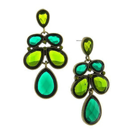 Gold-Tone Green Faceted Stone and Olivine-Color Crystal Cluster Drop Earrings