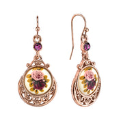 Rose Gold Tone Purple Crystal Flower Drop Earrings