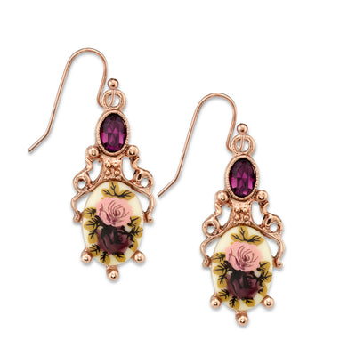 Rose Gold-Tone Purple Crystal Flower Drop Earrings