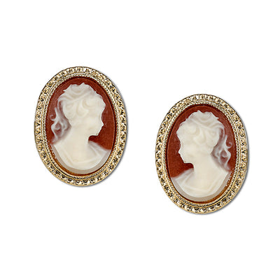 Gold Tone Faux Cameo Stud Earrings