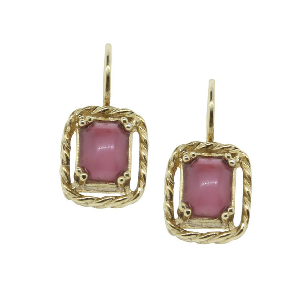 Gold Tone Pink Moonstone Leverback Drop Earrings