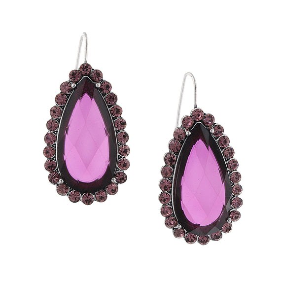 Silver-Tone Purple Faceted Stone and Light Purple Crystal Teardrop Earrings
