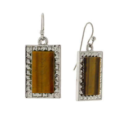 Silver Tone Rectangle Tiger Eye Gemstone Drop Earrings