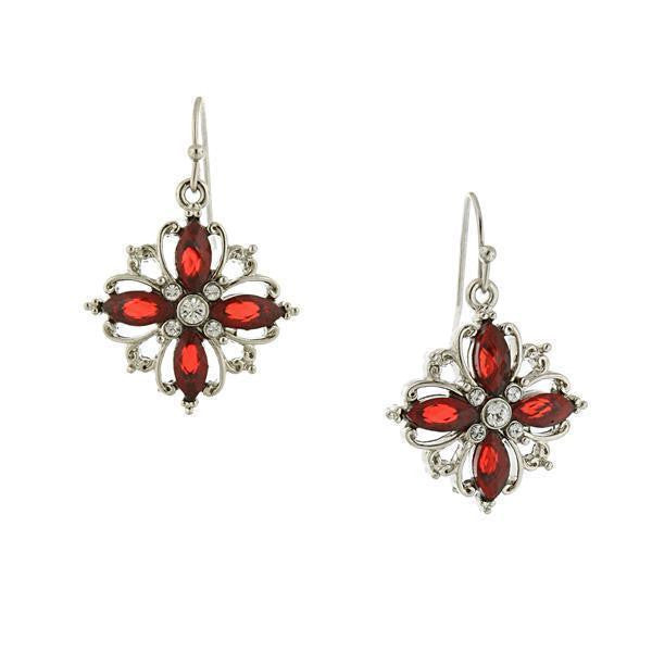 Silver-Tone Red Crystal Open Work Cluster Earrings