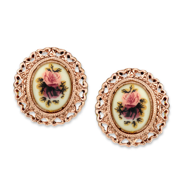 Rose Gold Tone Purple Flower Button Earrings