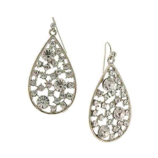 Silver Tone Crystal Open Work Multi Stone Pearshape Earrings
