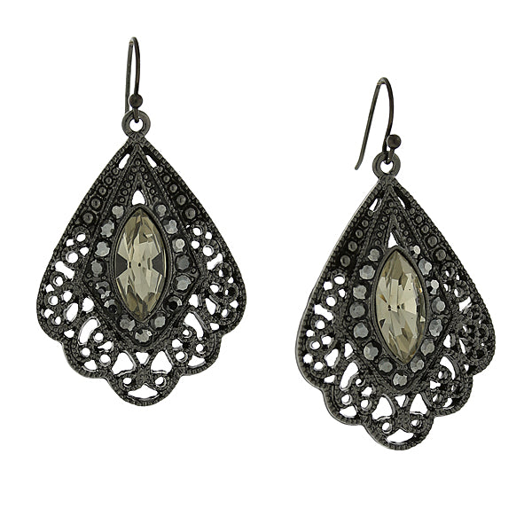 Black-Tone Hematite Color Filigree Fan Earrings