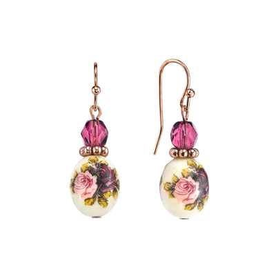 1928 Jewelry Rose Gold Tone Purple Crystal Bead Flower Drop Earrings