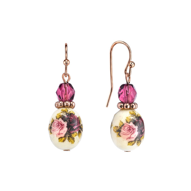 Rose Gold Tone Purple Crystal Bead Flower Drop Earrings