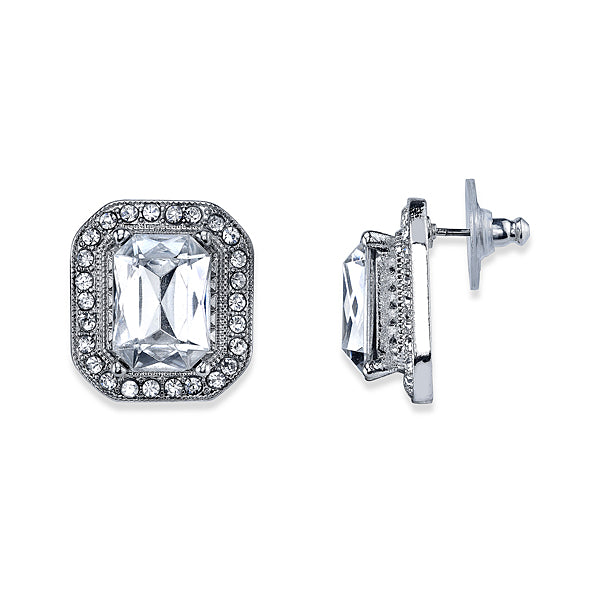 Crystal Octagon Button Earrings