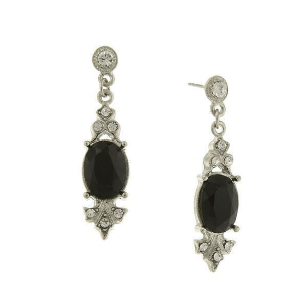 Silver-Tone Black Stone And Crystal Drop Earrings