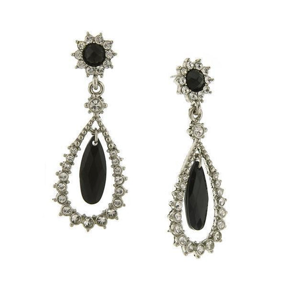 Silver-Tone Black and Crystal Caged Teardrop Earrings