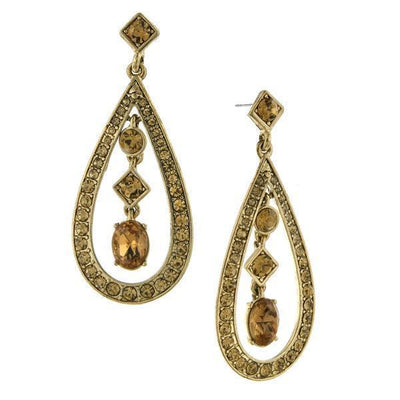 Gold Tone Light Topaz Crystal Caged Mixed Shapes Drop Earrings