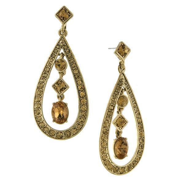 Gold-Tone Light Topaz Crystal Caged Mixed Shapes Drop Earrings