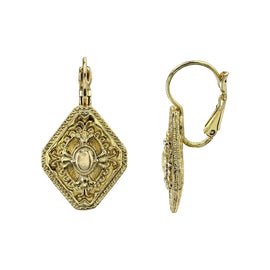 Gold-Tone Diamond-Shaped Drop Earrings