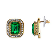 Crystal Octagon Button Earrings Green