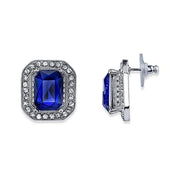 Crystal Octagon Button Earrings Blue