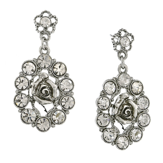 Silver Tone Crystal Oval Flower Drop Earrings