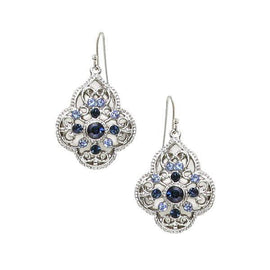 Signature Silver-Tone Sapphire Blue Crystal Filigree Drop Earrings