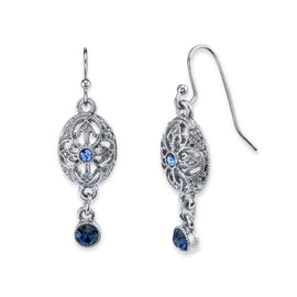 Silver-Tone Dark and Light Blue Crystal Drop Earrings