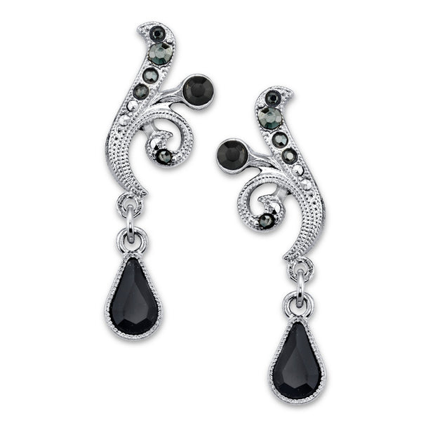 Silver Tone Black And Hematite Color Crystal Vine Drop Earrings