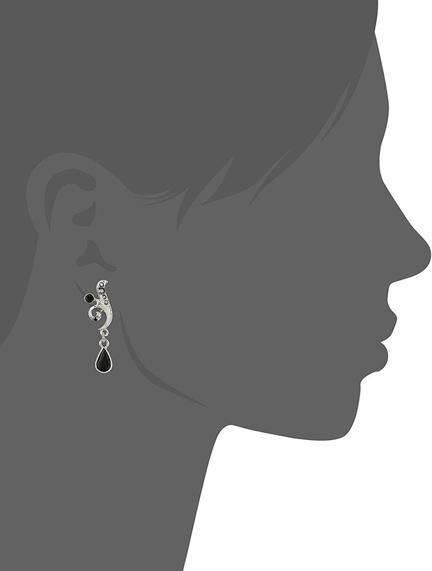 Silver Tone Black And Hematite Color Crystal Vine Drop Earrings Silhouette