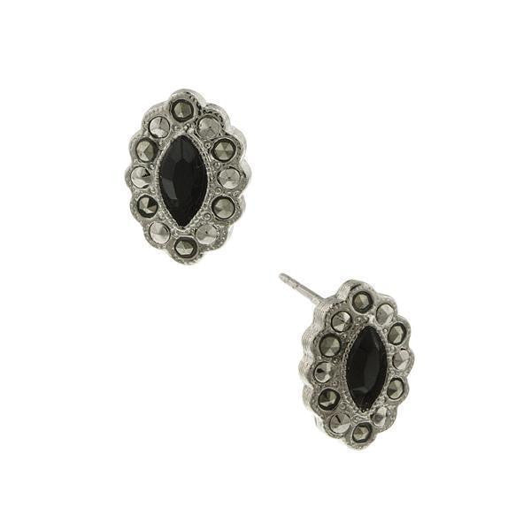 Silver-Tone Marcasite And Black Navette Button Earrings