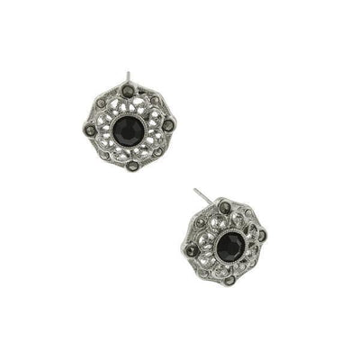 Silver-Tone Black Crystal And Marcasite Button Earrings