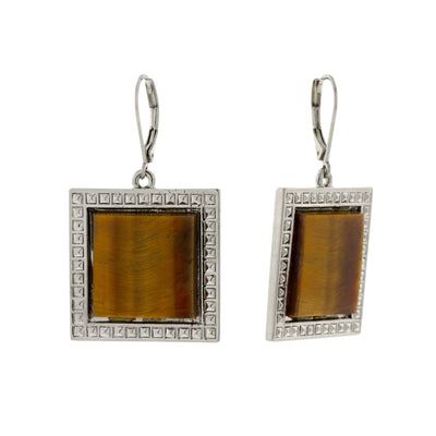Silver Tone Square Tiger Eye Gemstone Drop Earrings
