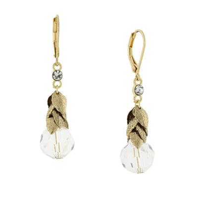 Gold Tone Clear Crystal Beaded Leaf Drop Earrings