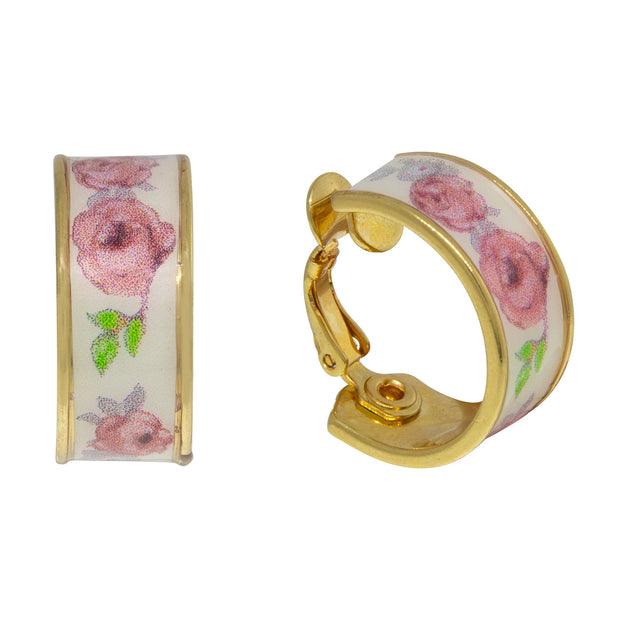 Gold Tone  Floral Hoop Clip On Earrings