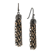 Black-Tone And Gold-Tone Tassel Drop Earrings