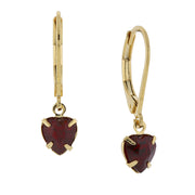 14K Gold Dipped Petite Heart Drop Earrings