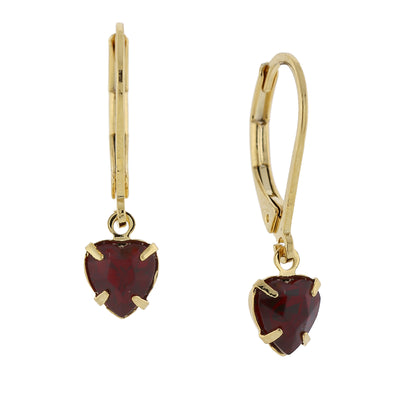 14K Gold-Dipped Dark Red Petite Heart Drop Earrings